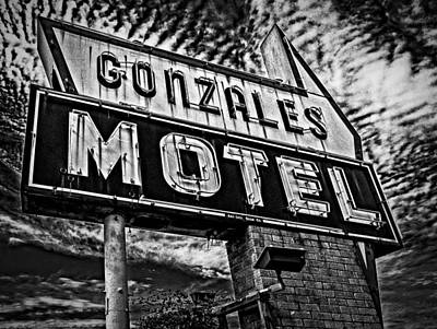 Poster featuring the photograph Gonzales Motel Sign by Andy Crawford