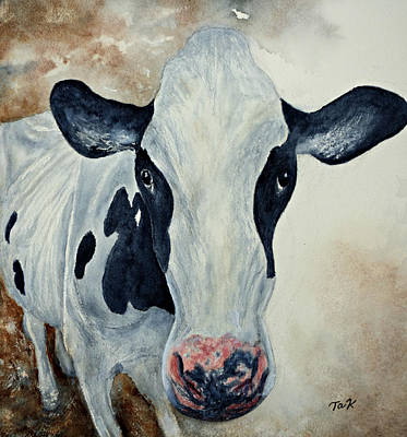 Poster featuring the painting Good Mooo To Youuu by Thomas Kuchenbecker