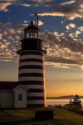 Good Morning West Quoddy Head Lighthouse Poster by Marty Saccone