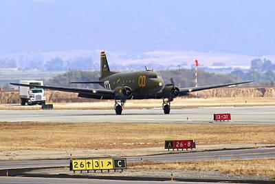 Gooney Bird C47 Landing At Salinas Air Show Poster