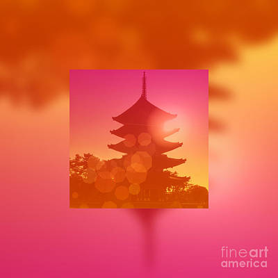 Gorgeous Pagoda Silhouette At Sunset Poster