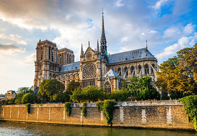 Gorgeous Sunset Over Notre Dame Cathedral Poster