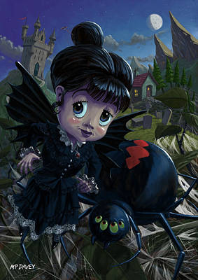 Goth Girl Fairy With Spider Widow Poster by Martin Davey