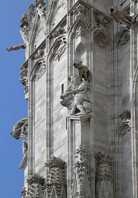 Gothic Cathedral Lion Statue And Gargoyles Poster