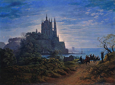 Gothic Church On A Rock By The Sea Poster