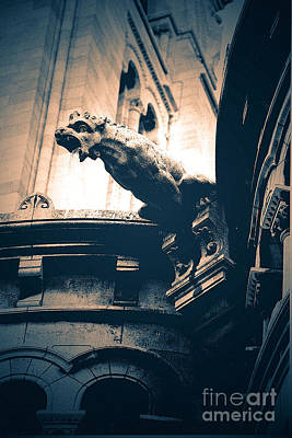 Gothic Paris Gargoyles Sacre Coeur Cathedral - Montmarte  Poster by Kathy Fornal