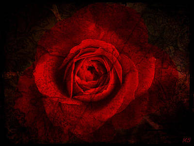 Poster featuring the digital art Gothic Red Rose by Absinthe Art By Michelle LeAnn Scott
