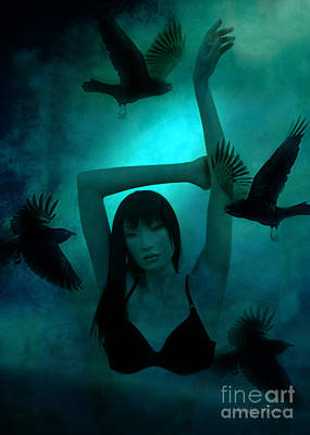 Gothic Surreal Ravens With Asian Girl  Poster by Kathy Fornal