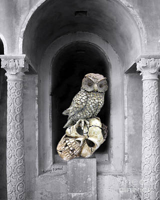 Gothic Surreal Spooky Owl And Skull On Post - Surreal Halloween Owl On Skull  Poster by Kathy Fornal