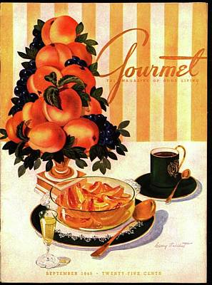 Gourmet Cover Featuring A Centerpiece Of Peaches Poster