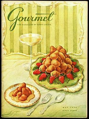 Gourmet Cover Featuring A Plate Of Beignets Poster by Hilary Knight