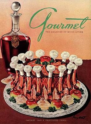 Gourmet Cover Illustration Of A Crown Roast Poster by Henry Stahlhut
