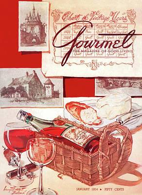 Gourmet Cover Of A Bottle Of Bordeaux Poster