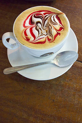 Gourmet Latte With Red And Brown Swirls Poster by David Smith