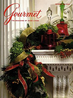 Gourmet Magazine Cover Featuring Christmas Garland Poster by Romulo Yanes