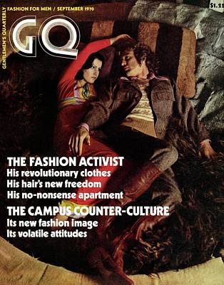 Gq Cover Featuring A Couple Resting On A Rug Poster by Peter Levy