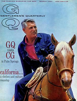 Gq Cover Of Actor Carey Grant Horseback Riding Poster by Hal Adams