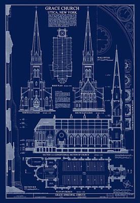 Grace Church Blueprint Poster by Daniel Hagerman