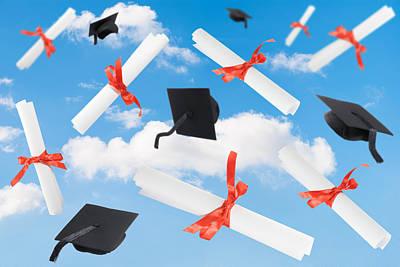 Graduation Caps And Scrolls Poster by Amanda Elwell