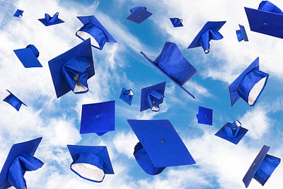 Graduation Caps In Flight Poster