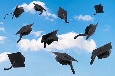 Graduation Mortar Boards Poster by Amanda Elwell