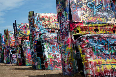 Graffiti At The Cadillac Ranch Amarillo Texas Poster