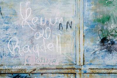 Graffiti On Blue Poster by Rob Huntley