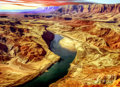 Grand Canyon Lees Ferry Painting Poster by Bob and Nadine Johnston