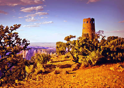 Poster featuring the painting Grand Canyon National Park Golden Hour Watchtower by Bob and Nadine Johnston