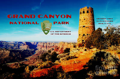 Grand Canyon National Park Poster Desert View Watchtower Retro Future Poster by Shawn O'Brien