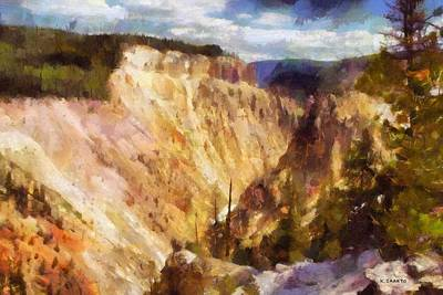 Poster featuring the painting Grand Canyon Of Yellowstone 2 by Kai Saarto