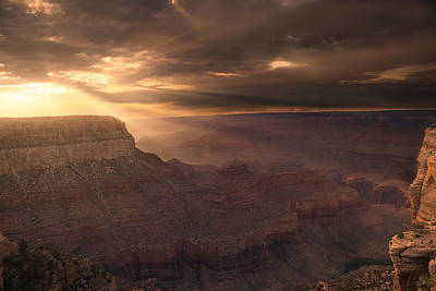 Grand Canyon Red Sunset Poster by Chris Bordeleau