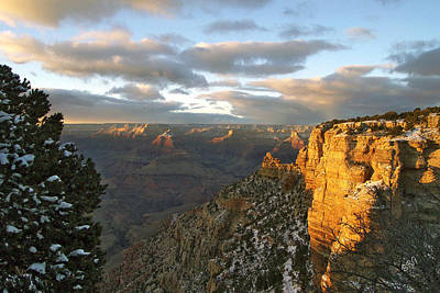 Grand Canyon. Winter Sunset Poster by Ben and Raisa Gertsberg