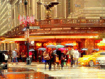 Grand Central Station In The Rain - New York Poster by Miriam Danar