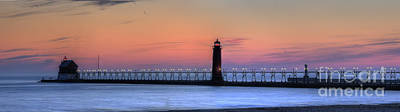 Grand Haven Lighthouses And Pier Poster