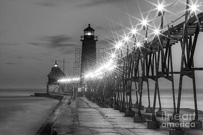 Grand Haven Pier In Black And White Poster
