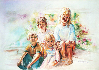 Poster featuring the painting Grand Kids by Patricia Schneider Mitchell