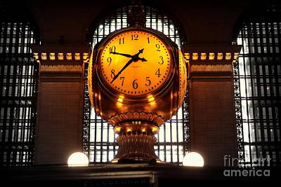 Grand Old Clock At Grand Central Station - Front Poster by Miriam Danar