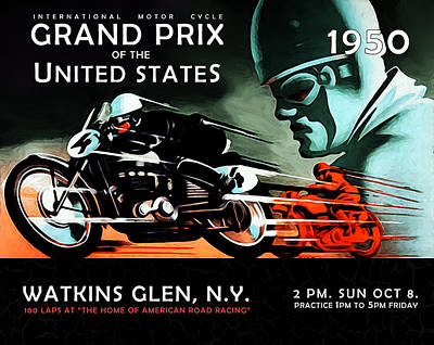 Grand Prix 1950 Poster by Mark Rogan