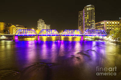 Grand Rapids At Night Poster by Twenty Two North Photography