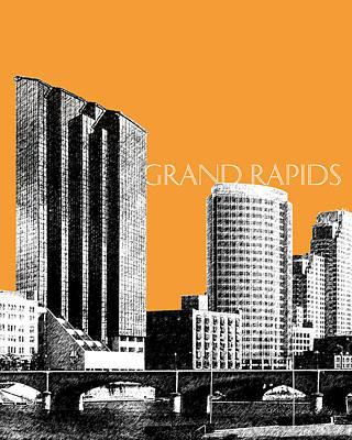 Grand Rapids Skyline - Orange Poster