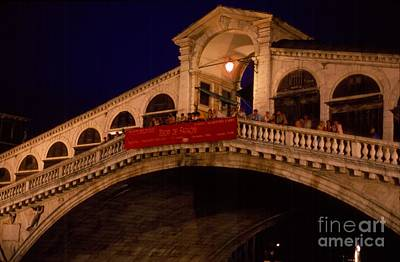 Grand Rialto At Night - Venezia - Italy Poster by Anna Lisa Yoder