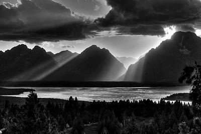 Grand Teton Light Beams Poster by Aidan Moran