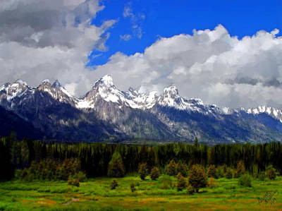 Grand Teton Mountains Poster by Bruce Nutting