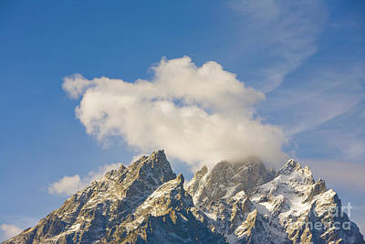 Grand Teton Peak And Cumulus Clouds Poster
