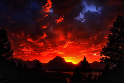 Grand Teton Sunset Poster by Aidan Moran