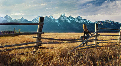 Grand Tetons And Girl On Fence Poster by June Jacobsen