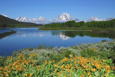 Grand Tetons From The Oxbow, Grand Poster by Michel Hersen