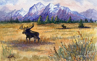 Grand Tetons Moose Poster by Marilyn Smith