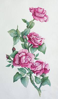 Poster featuring the painting Grandma Helen's Roses by Katherine Young-Beck
